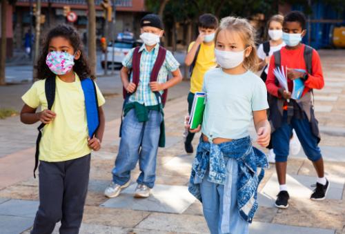 Elementary school kids wearing face masks